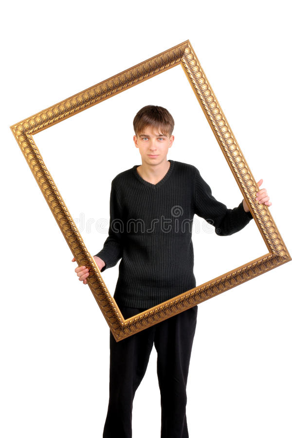 Download Teenager with frame stock photo. Image of black, concept - 26446852
