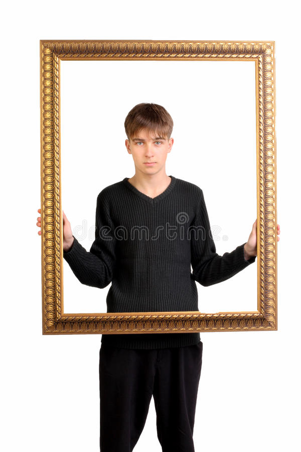 Download Teenager with frame stock photo. Image of black, teen - 26446864