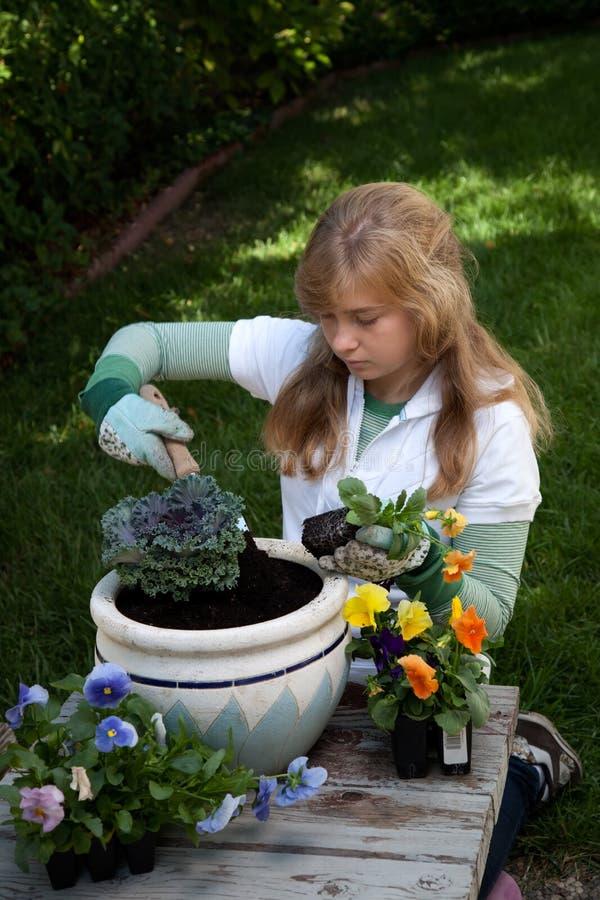Teenager gardening royalty free stock photo