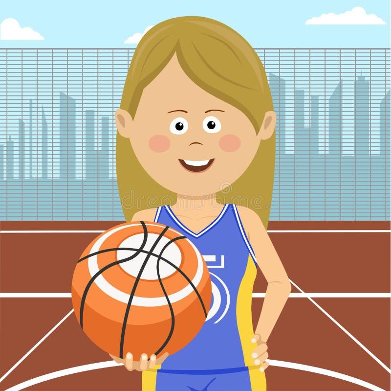 Teenager girl with ball standing on city basketball court. Teenager girl with a ball standing on city basketball court stock illustration
