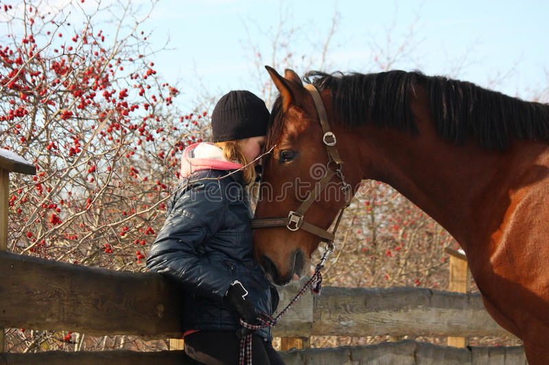 Teenager girl and bay horse hugging each other. In fall stock photos