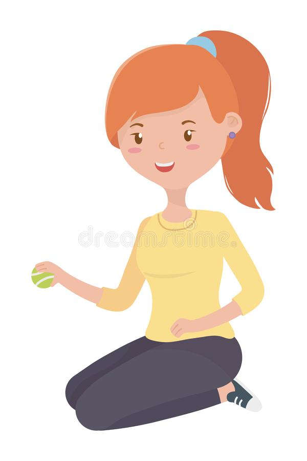 Teenager girl cartoon with tennis ball design. Teenager girl with tennis ball design, Female people young teen beautiful and woman theme Vector illustration stock illustration