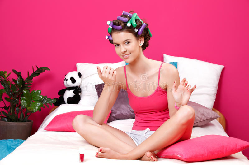 Download Teenager Girl Drying Her Nails Royalty Free Stock Photos - Image: 25226248