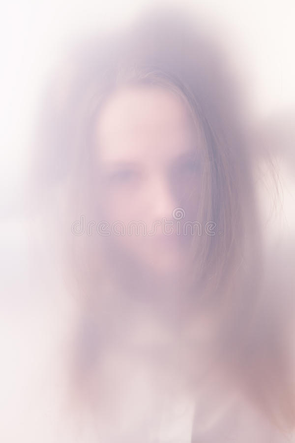 The Teenager Girl In A Fog Stock Image