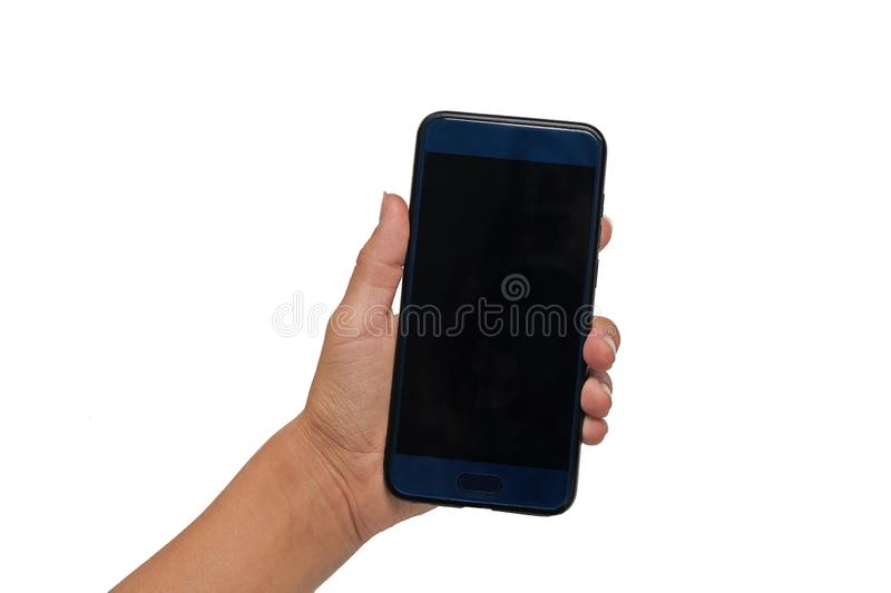 Teenager girl hand holds blue smartphone with black screen isolated on white background royalty free stock photo