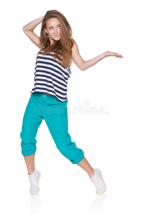 Teenager girl hipster showing blank copy space royalty free stock photography