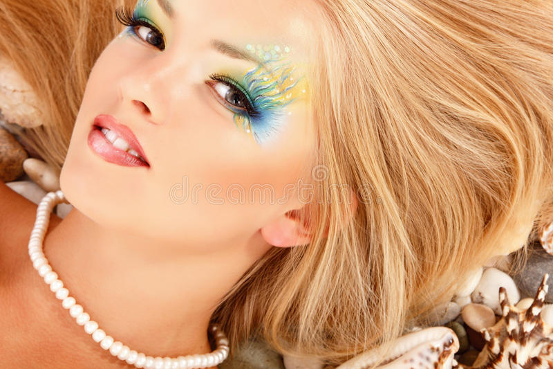 Teenager girl mermaid beautiful royalty free stock photos