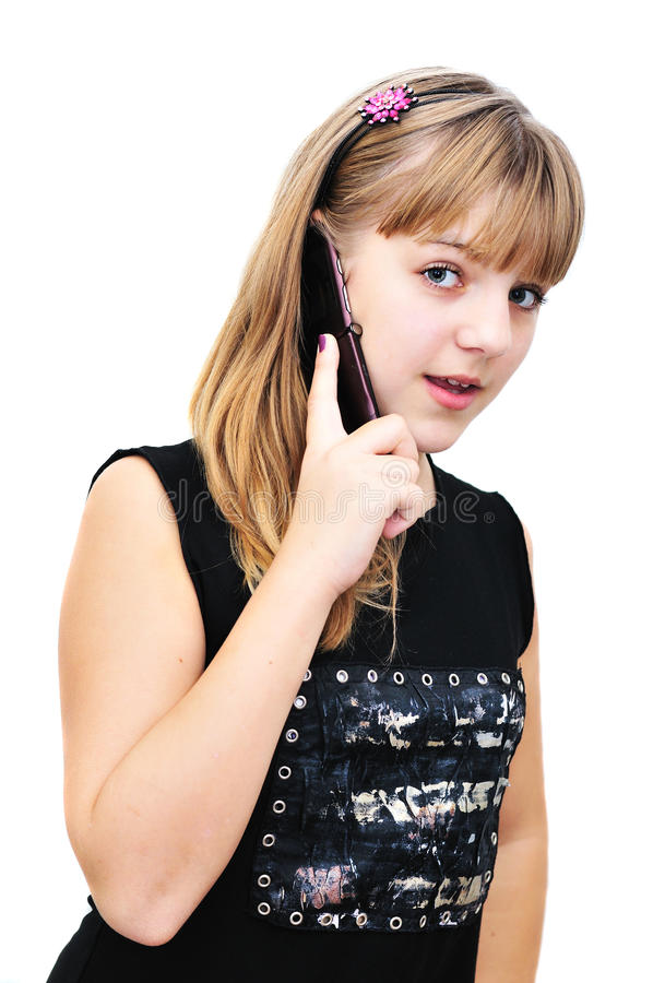 Teenager girl with mobile phone stock photos