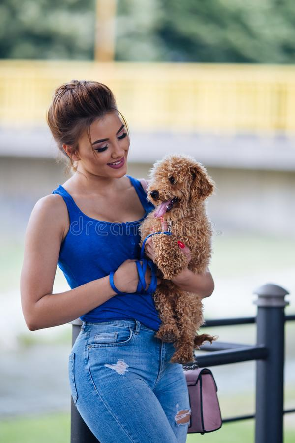 Teenager girl with red poodle. Portrait of beautiful smiling young woman with her little red poodle puppy stock photo