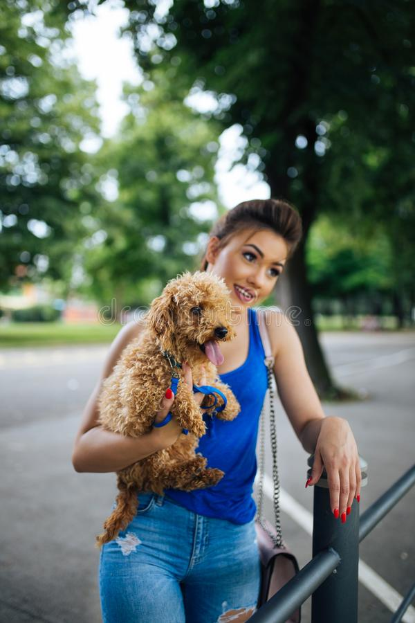Teenager girl with red poodle. Portrait of beautiful smiling young woman with her little red poodle puppy royalty free stock photo