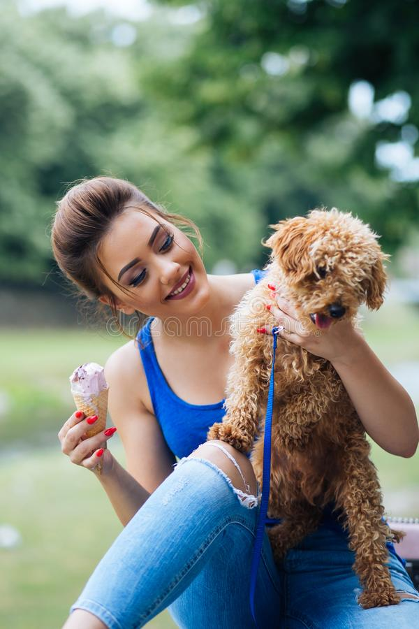 Teenager girl with red poodle. Portrait of beautiful smiling young woman with her little red poodle puppy royalty free stock images