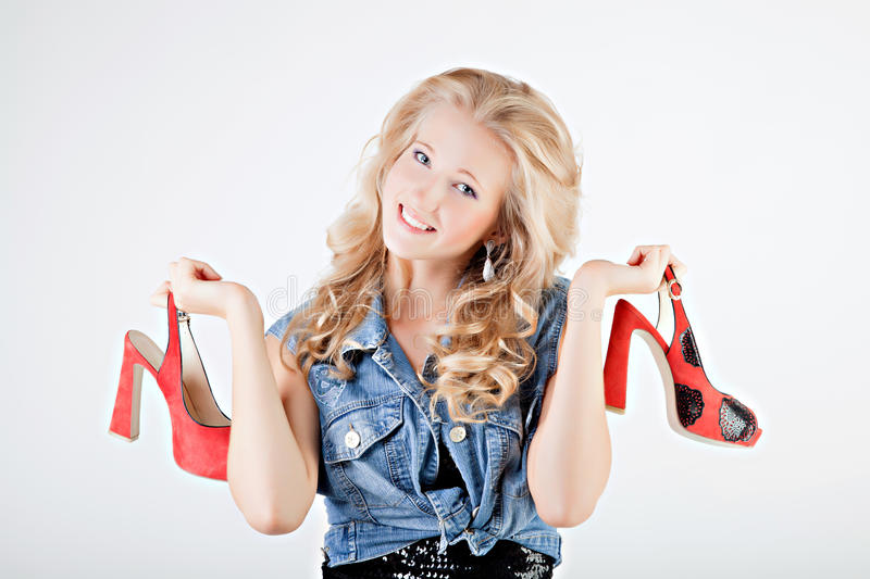Teenager Girl With Shoes Stock Photos