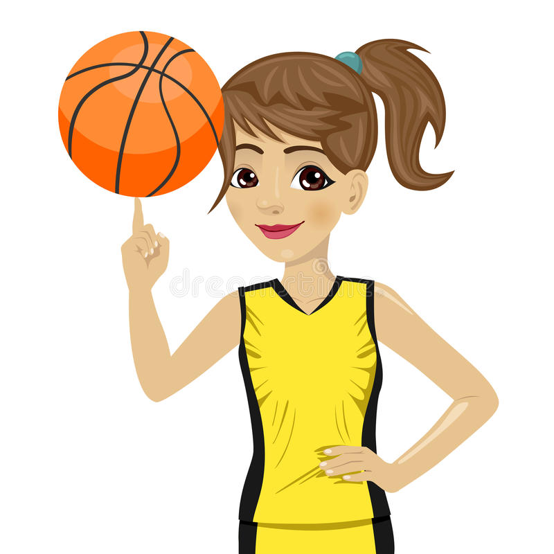 Teenager girl spinning basketball ball with her finger. On white background royalty free illustration