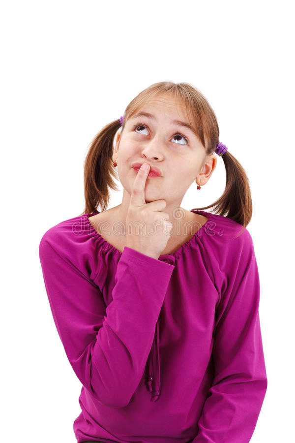 Download Teenager Girl Thinking And Holding Finger At Mouth Stock Photo - Image: 28933358
