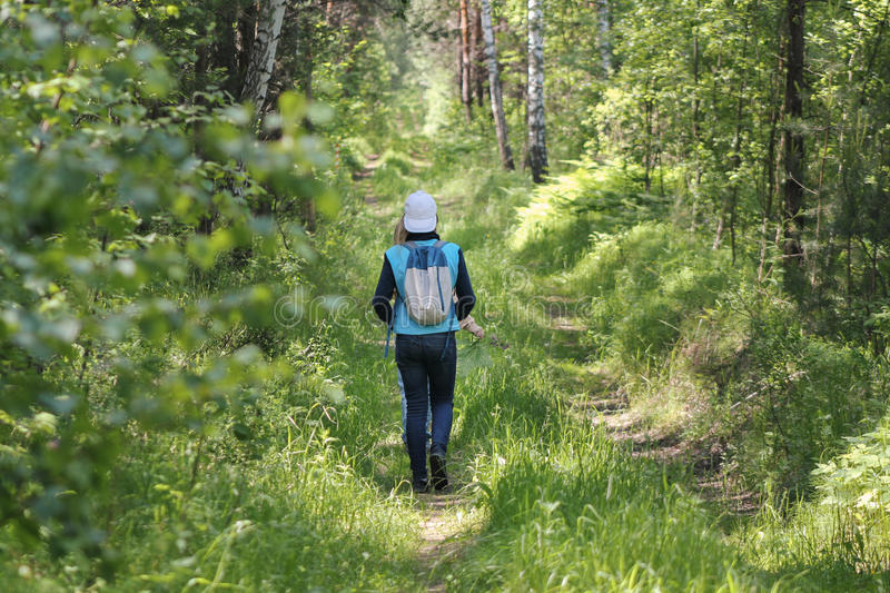 Teenager girl walking in forest at summer day, rear view stock image