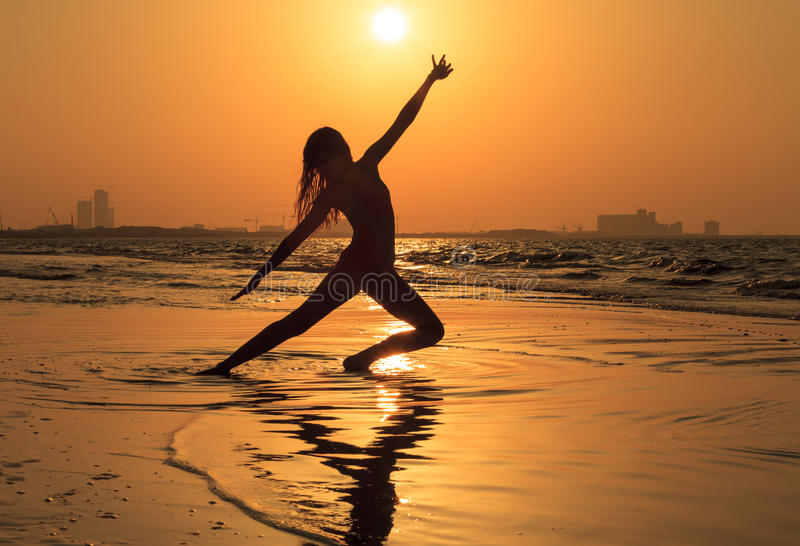 Teenager girl at yoga workout royalty free stock photography
