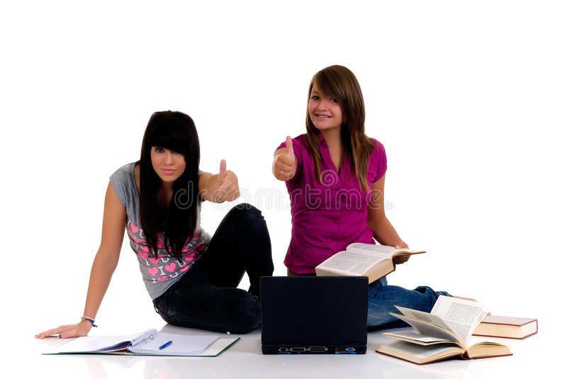 Download Teenager girls studying stock image. Image of laptop, cover - 6112729