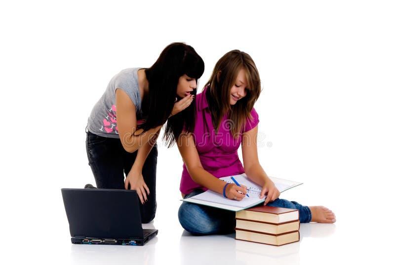 Teenager girls studying stock photography