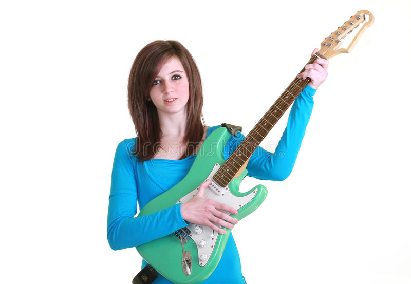 Teenager with guitar royalty free stock images