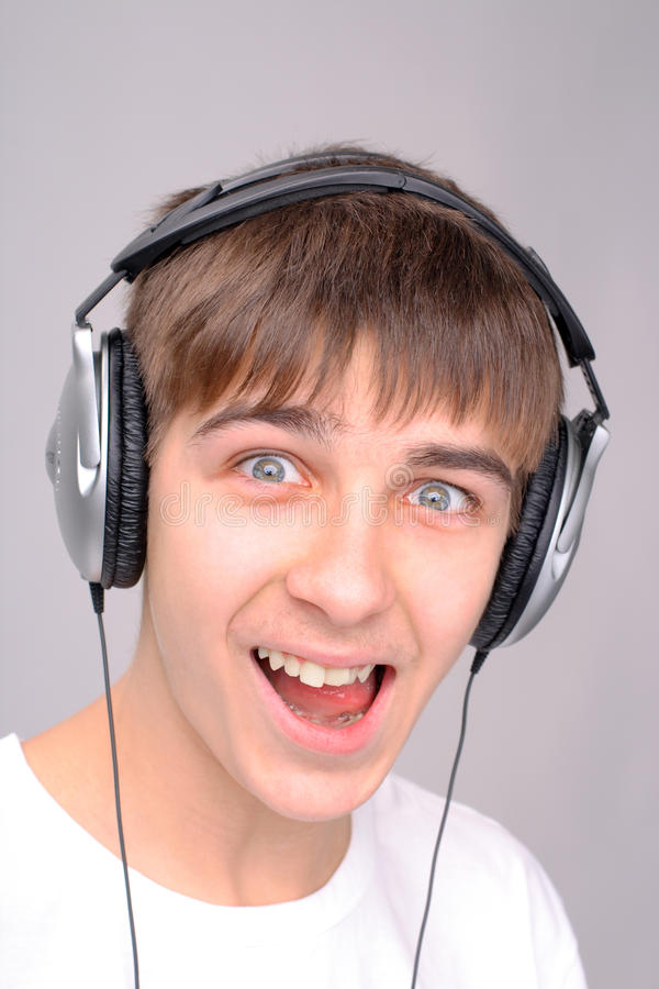 Download Teenager in headphones stock photo. Image of person, gawk - 26376700
