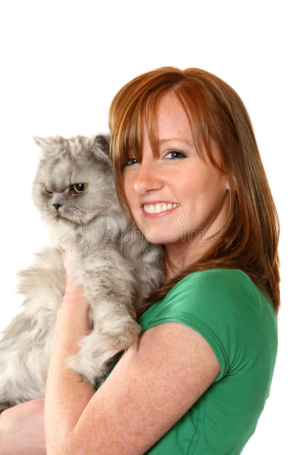 Download Teenager with her cat stock image. Image of companionship - 7517179