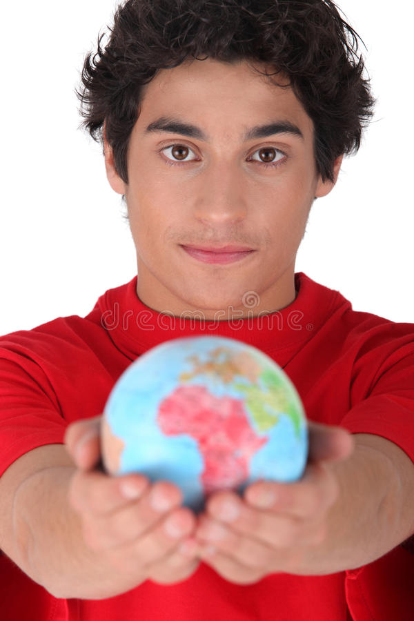 Download Teenager Holding A Mini Globe Stock Image - Image: 35925181