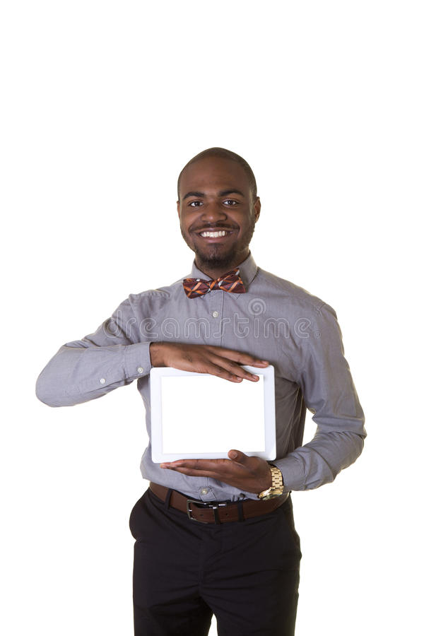 A teenager holding a tablet royalty free stock photos