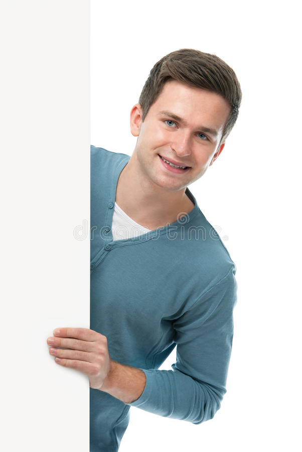 Teenager Holds A Blank Board Stock Photography