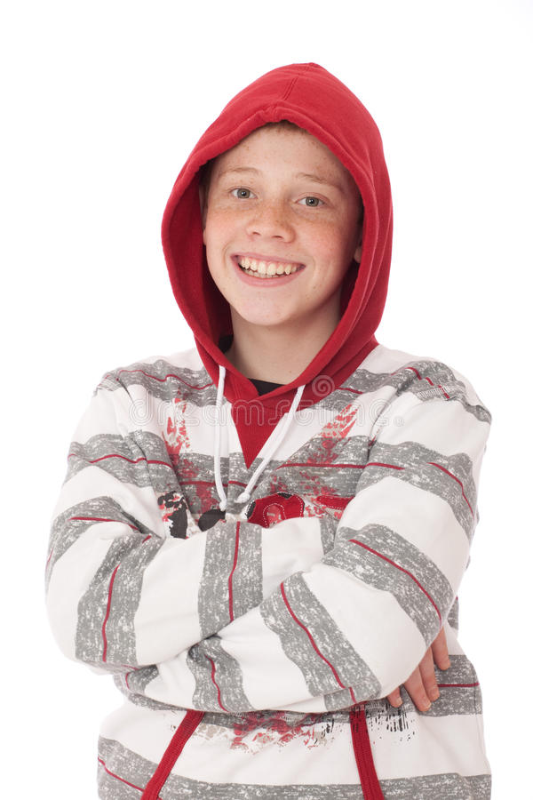 Download Teenager in hood stock image. Image of casual, male, grey - 19070919