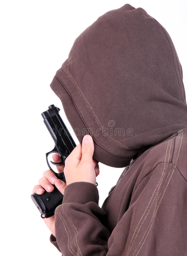 Download Teenager In The Hood With Gun. Royalty Free Stock Photos - Image: 27014048