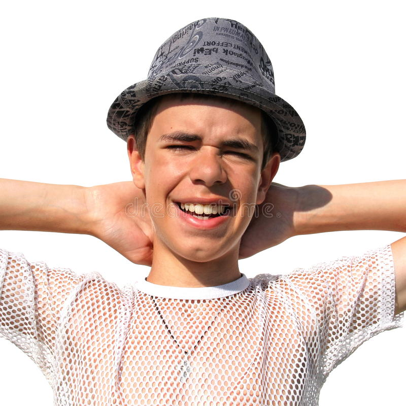 Free Teenager In A Hat On White Royalty Free Stock Image - 29027316