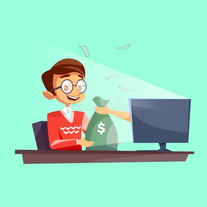 Teenager internet vector cartoon flat cartoon illustration of young boy giving or winning money bag from computer vector illustration