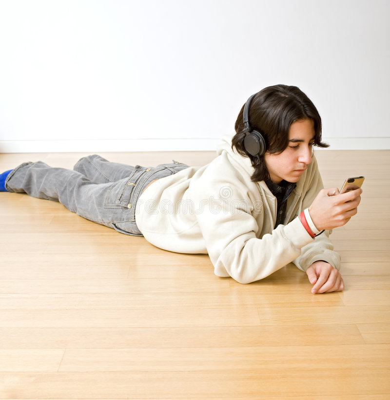 Teenager and iphone stock photos