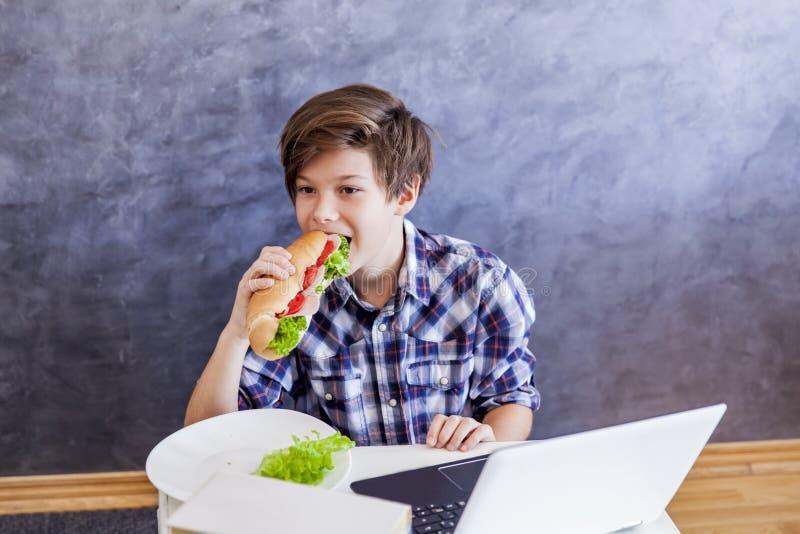 Teenager isst ein Sandwich und das Netz-Surfen lizenzfreies stockfoto