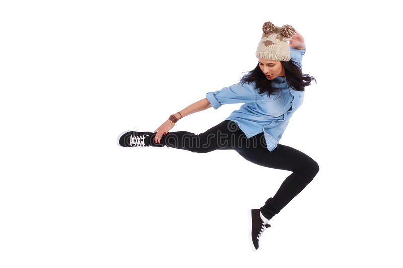 Teenager in jeans dancing street dance. On white royalty free stock photo