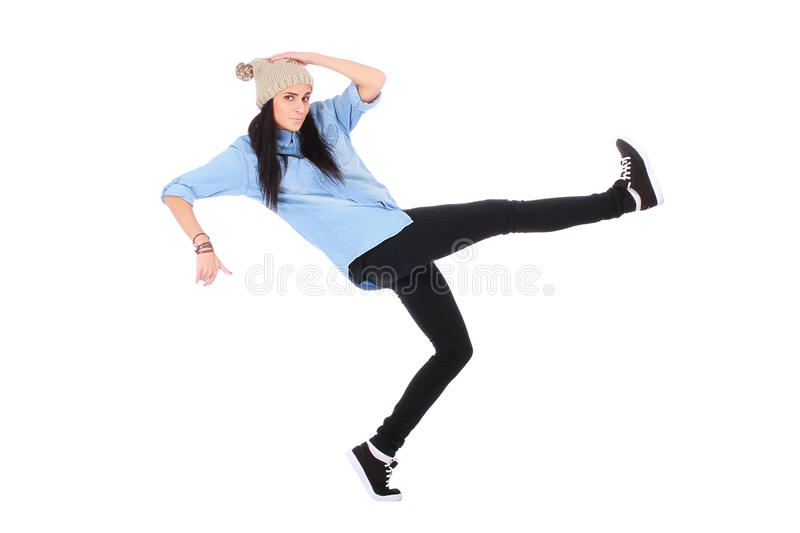 Teenager in jeans dancing street dance. On white stock image