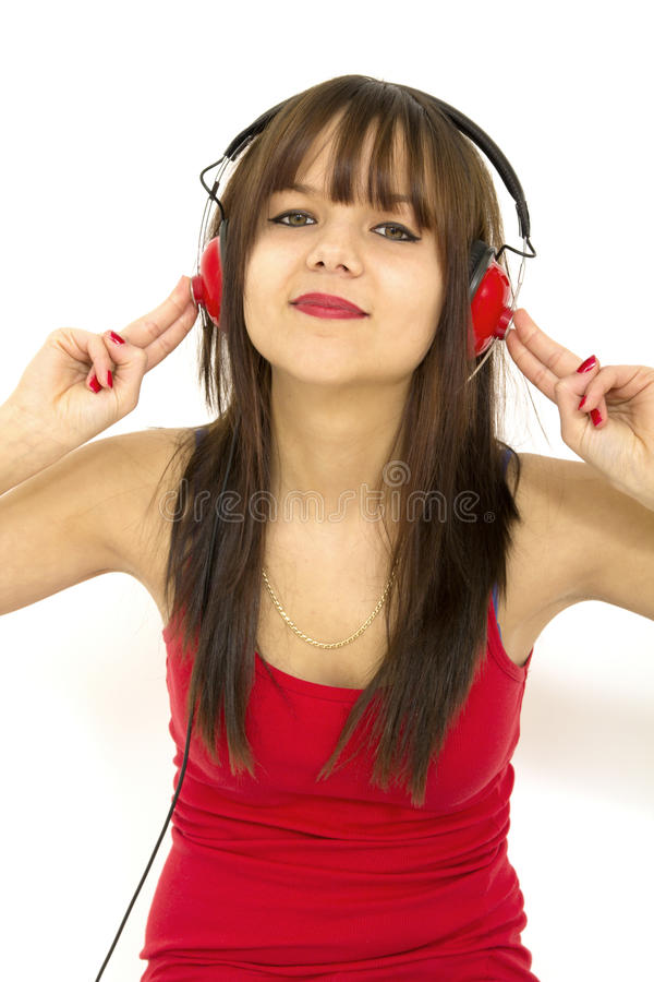Teenager listening music royalty free stock images