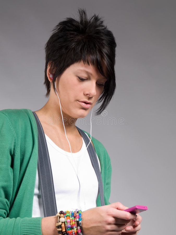 Download Teenager Listening To Music Stock Photo - Image of girl, equipment: 8956228