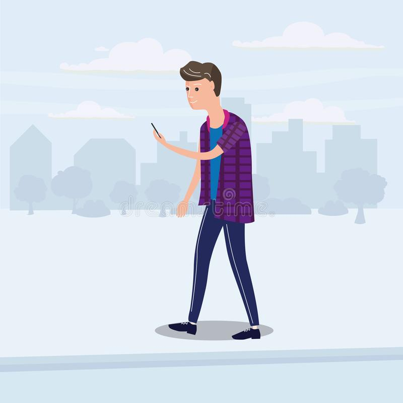 Teenager looking into smartphone on the go, background city, vector, illustration, cartoon style, isolated royalty free illustration