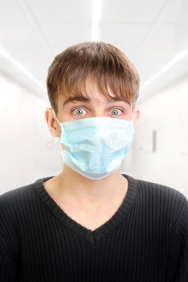 Download Teenager in mask stock image. Image of medicine, close - 19129487