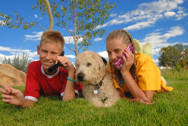 Teenager mit Telefonen und Hund   stockfoto