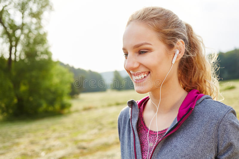 Teenager with mp3 player stock image