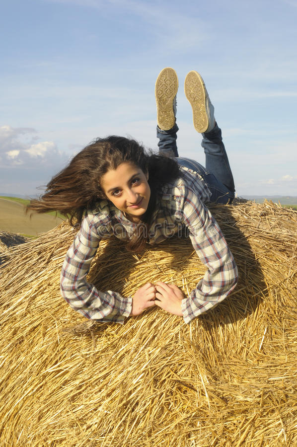 Download Teenager in nature stock photo. Image of bale, outdoor - 24531786