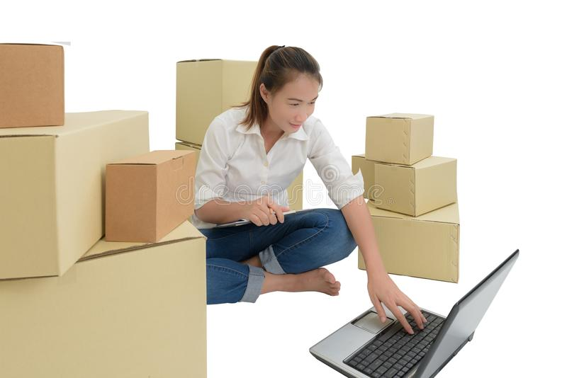 Teenager owner business woman work at home with Clipboard, laptop for online shopping writing the order. Isolated on white background with clipping path stock images