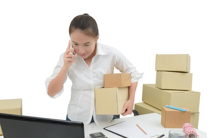 Teenager owner business woman work at home with smartphone, laptop for online shopping writing the order. Isolated on white background with clipping path stock images