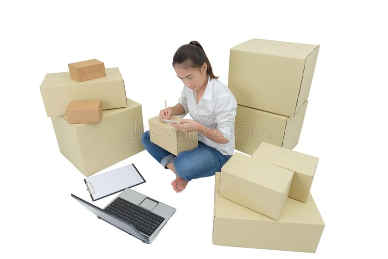 Teenager owner business woman work at home with smartphone, laptop for online shopping writing the order. Isolated on white background with clipping path stock photos