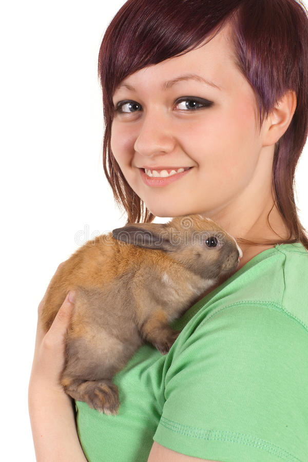 Download Teenager pet stock photo. Image of holding, rabbits, person - 28892820