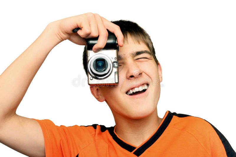 Download Teenager With Photocamera stock image. Image of enjoyment - 28604465