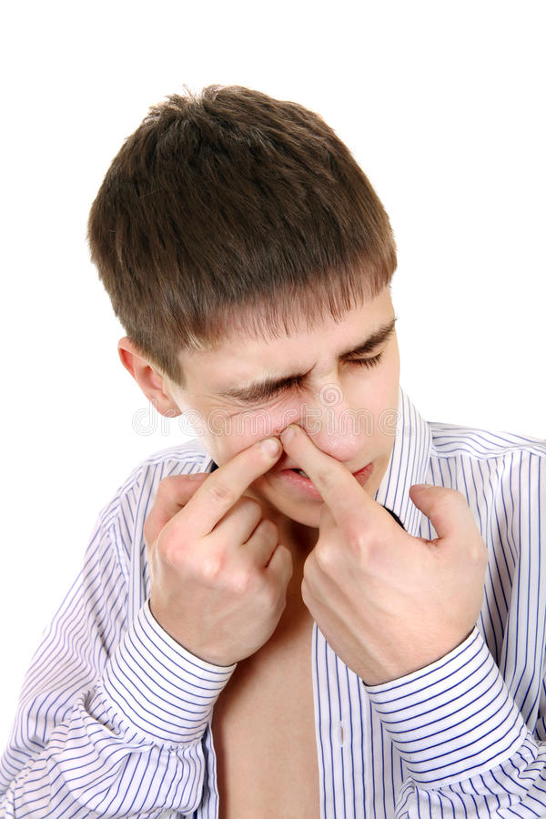 Teenager with Pimple stock images