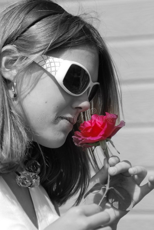 Download Teenager with pink flower stock photo. Image of color - 2601052